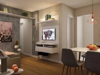 Sala de Estar e Jantar Aconchegante, Minimalista e Divertida: Salas de estar  por EasyDeco Decoração Online