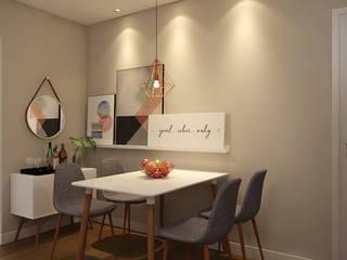Sala de Estar e Jantar Aconchegante, Minimalista e Divertida: Salas de jantar  por EasyDeco Decoração Online