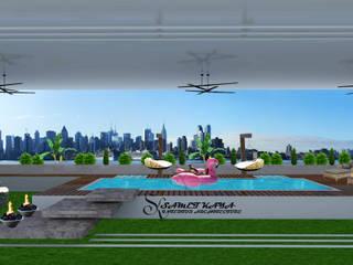 SKY İç Mimarlık & Mimarlık Tasarım Stüdyosu – Kat Terası:  tarz Ön avlu