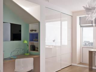 Зона для мальчика. Фрагмент гардеробной девочки: Детские комнаты в . Автор – Архитектурная студия 'АВТОР'