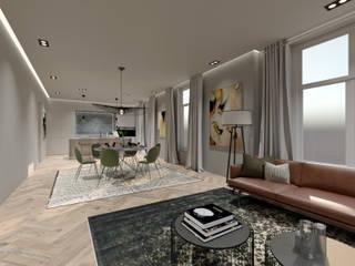 3D Visualisatie - Rotterdam:  Woonkamer door Spijker Design Studio, Modern