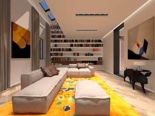 3D Visualisatie - Milaan:  Woonkamer door Spijker Design Studio, Modern