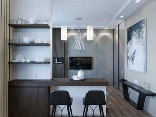 Вид из кухни на гостиную: Гостиная в . Автор – VB-Design