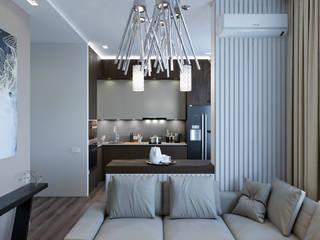 Вид из гостиной на кухню: Гостиная в . Автор – VB-Design