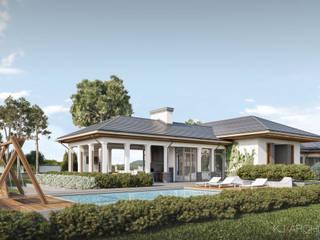 Projekt parterowej rezydencji : styl , w kategorii Willa zaprojektowany przez KJ Architekci,