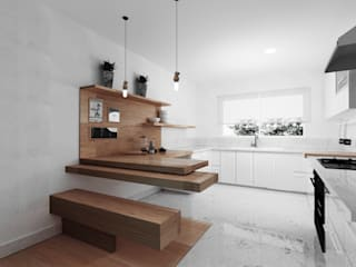Cocina - Mesa flotante de madera Cocinas minimalistas de GA Experimental Minimalista Cuarzo