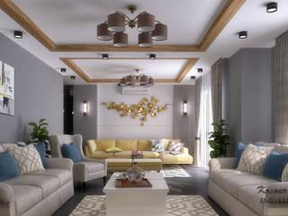 تصميم ريسيبشن بشقة في كومباوند:  غرفة المعيشة تنفيذ KOSOUR INTERIORS