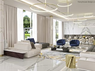 Modern interior design for a luxury house in Dubai Modern Living Room by Fancy House Design Modern