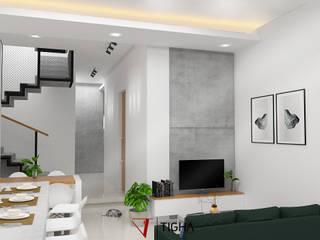 Interior ruang keluarga AN House:  Ruang Keluarga by Tigha Atelier