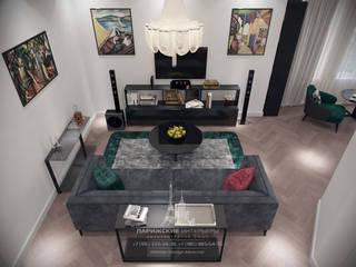 Свет и равновесие в новостройке на Ленинском: Гостиная в . Автор – Архитектурное бюро «Парижские интерьеры»