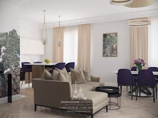 Уютное гнездышко для мамы: интерьер квартиры в ЖК «Родной город»: Гостиная в . Автор – Архитектурное бюро «Парижские интерьеры»