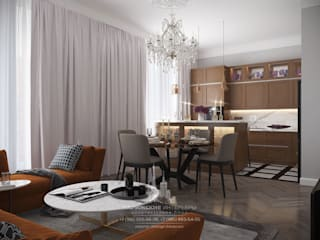 Яркие нотки в классической партитуре: интерьер 3-комнатной квартиры в ЖК «Наследие»: Кухни в . Автор – Архитектурное бюро «Парижские интерьеры»