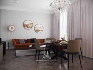 Яркие нотки в классической партитуре: интерьер 3-комнатной квартиры в ЖК «Наследие»: Гостиная в . Автор – Архитектурное бюро «Парижские интерьеры»