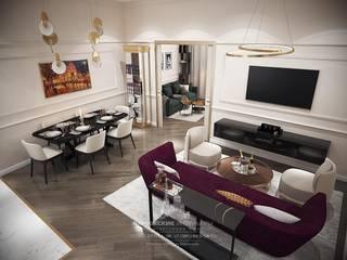 Весенний Париж в миниатюре: интерьер квартиры на Пречистенке: Гостиная в . Автор – Архитектурное бюро «Парижские интерьеры»