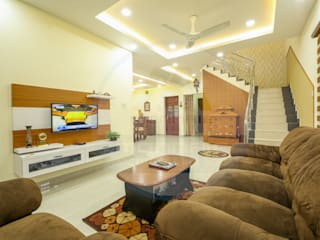 Famous Architects & Interior Designers in Kerala Classic style living room by Monnaie Architects & Interiors Classic