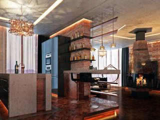 Квартира в Москве на ул. Мосфильмовская в стиле лофт Кухня в стиле лофт от DAA Лофт