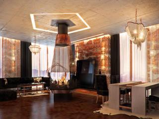 Квартира в Москве на ул. Мосфильмовская в стиле лофт Гостиная в стиле лофт от DAA Лофт