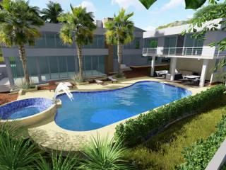 vivienda multi-familiar (Casa Jardin: Casas multifamiliares de estilo  por SEQUOIA. Projects & Designs,