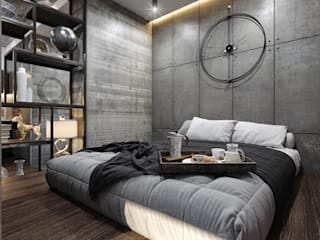 インダストリアルスタイルの 寝室 の GLAZOV design group концептуальная студия дизайна интерьеров インダストリアル
