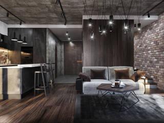 БРУТАЛЬНЫЙ ЛОФТ Гостиная в стиле лофт от GLAZOV design group концептуальная студия дизайна интерьеров Лофт