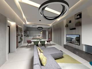 PROGETTO DI INTERIOR DESIGN: Soggiorno in stile  di Ama Studio Design, Moderno