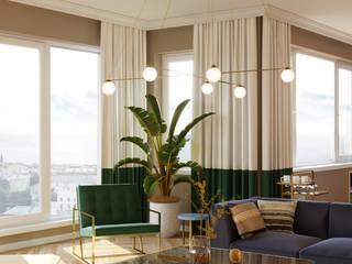 Diseño interior de un salón y comedor Salones de estilo ecléctico de Isabel Gomez Interiors Ecléctico