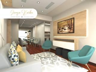 Diseño Residencial Salas modernas de Irenya Barba - Diseño de Interiores Moderno