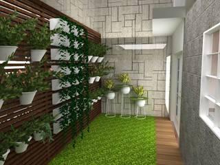 Jardín posterior: Jardines en la fachada de estilo  por ROQA.7 ARQUITECTOS