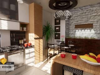 Vivienda bifamiliar GC: Cocinas pequeñas de estilo  por ROQA.7 ARQUITECTURA Y PAISAJE, Moderno