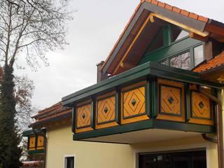 Balkongeländer in Holzoptik GEWA Balkonsysteme GmbH Balkon Aluminium/Zink Braun
