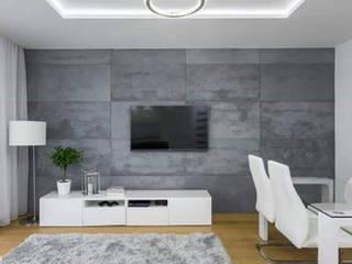 Beton architektoniczny w salonie Nowoczesna sypialnia od Luxum Nowoczesny