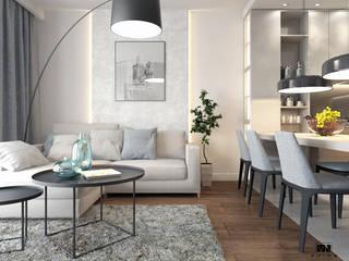 Małe przestronne mieszkanie Nowoczesny salon od MJanimo sp. z o.o Nowoczesny