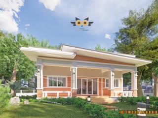 บ้านโมเดริน์เน้นระเบียง แบบบ้านออกแบบบ้านเชียงใหม่ บ้านขนาดเล็ก คอนกรีต Brown
