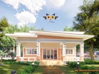 บ้านโมเดริน์เน้นระเบียง:  บ้านขนาดเล็ก by แบบบ้านออกแบบบ้านเชียงใหม่