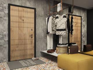 工業風的玄關、走廊與階梯 根據 Дизайн Студия Katushhha 工業風