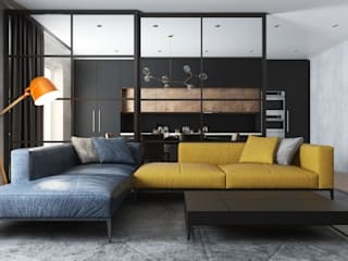Ruang Keluarga Gaya Industrial Oleh Дизайн Студия Katushhha Industrial
