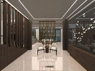 DK Residence M I D S T Interiors Ruang Keluarga Modern Marmer Beige