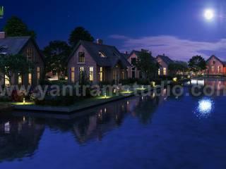Romantic Night View of Waterside Villa 3D Exterior Design Companies By Yantram 3D Architectural Design Studio, Sydney-Australia Yantram Architectural Design Studio Klasik