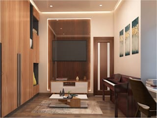 DWARKA SECTOR—4, RESIDENTIAL PROJECT BY MAD DESIGN Minimalist media room by MAD Design Minimalist