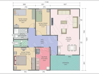 4+1 Kampanyalı Prefabrik Ev 117 m² İdeal Ev (Prefabrik Evim) Modern