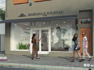 MARIANA Y SOLEDAD SALON: Galerías y espacios comerciales de estilo  por RUKA arquitectas