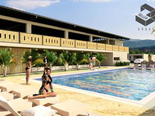 Proyecto Anzoátegui Taller 3M Arquitectura & Construcción Piscinas de jardín Piedra Beige