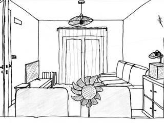 Re-styling de sala com algumas pré-existências restauradas por Andreia Design Rústico