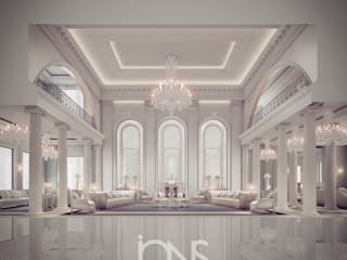 Georgian- Inspired Mansion Interior Design IONS DESIGN Living room Stone White