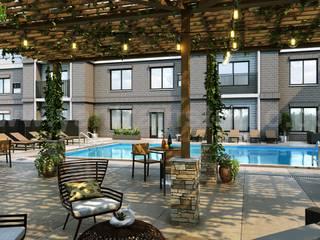 3D Exterior Modeling of Courtyard & Pool Design By Yantram Architectural Design Studio, London – U.K Modern Bar & Kulüpler Yantram Architectural Design Studio Modern
