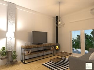 organizador de tv: Livings de estilo  por Arquimundo 3g - Diseño de Interiores - Ciudad de Buenos Aires