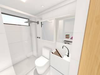 Phòng tắm phong cách tối giản bởi Sônia Beltrão Arquitetura Tối giản
