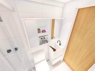 Banheiro/ Espelho/ Armário: Banheiros  por Sônia Beltrão Arquitetura ,Moderno