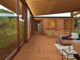 Corredor principal integrado com sala de estar e jantar:   por Studio Santoro Arquitetura