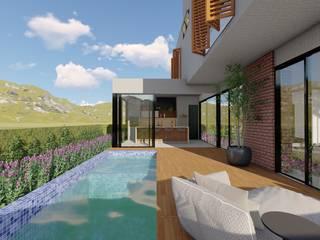 Vista Piscina, deck e área de lazer: Piscinas  por Studio Santoro Arquitetura